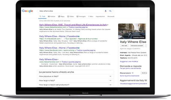 Posizionamento su Google sito tour operator