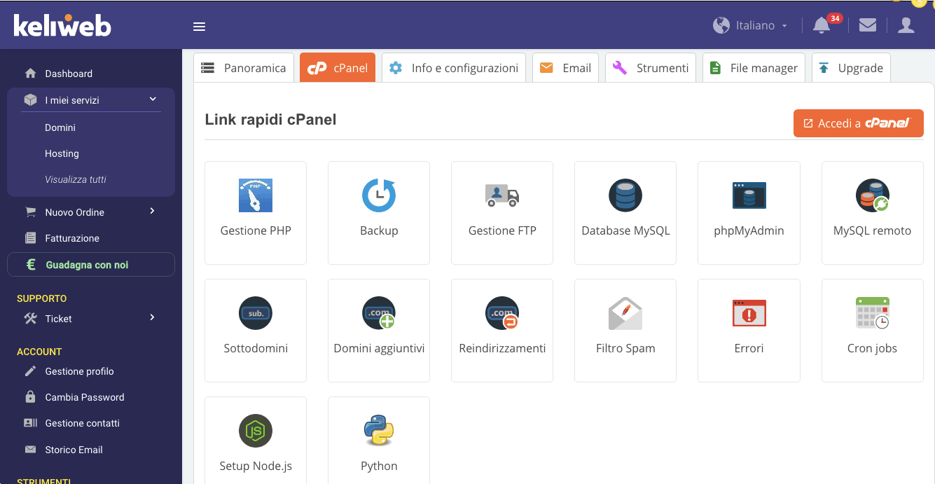 cPanel Hosting WordPress Keliweb